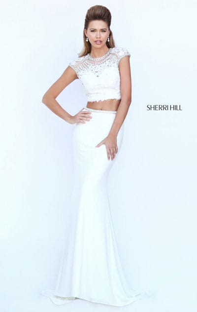 Sherri Hill 50025 Scoop Neckline Open Back Cap Sleeves Ivory Beaded Two Piece Long Prom Dresses 2016