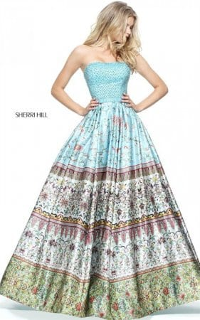 2017 Amazing Strapless Beading Blue Floral Print Gown By Sherri Hill 51246