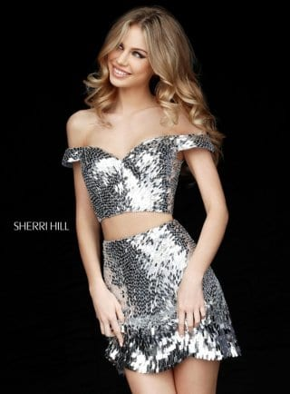 2017 Sherri Hill 51411 Silver Two Piece Off-The-Shoulder Sequined Short Prom Dresses